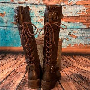 Wanted Boots Brown Lace up backs